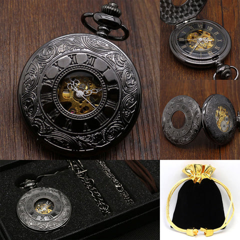 Hollow Vintage Semi Automatic Skeleton Mechanical Pocket Watch