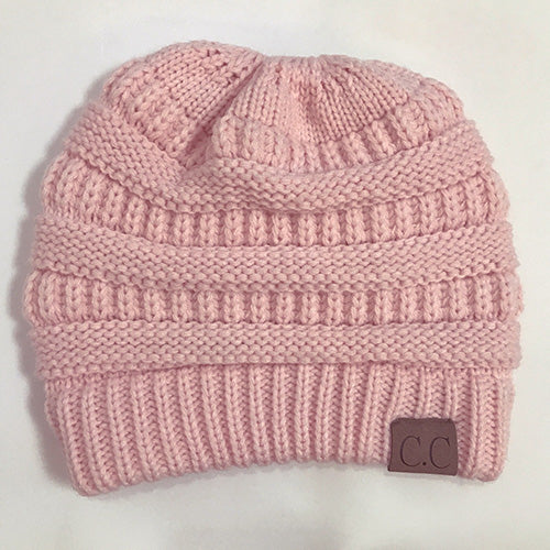 Chunky warm Stretchy Knitted Beanies hat High bun Ponytail-Sunshine's Boutique & Gifts