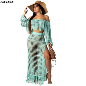 Bohemian off shoulder two piece Cover -Up-Sunshine's Boutique & Gifts
