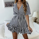 Striped V Neck Dress