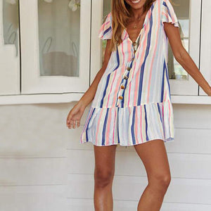V Neck Striped Mini Dresses
