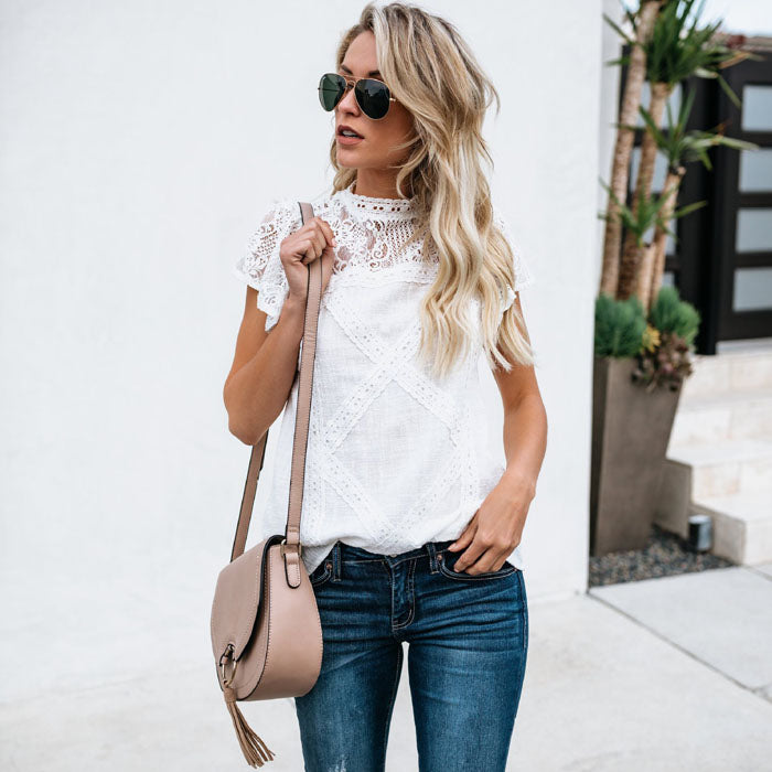 White Lace Blouse Summer T Shirts