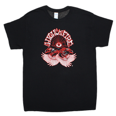 Black High on Fire twin birds next to an eye ball front print