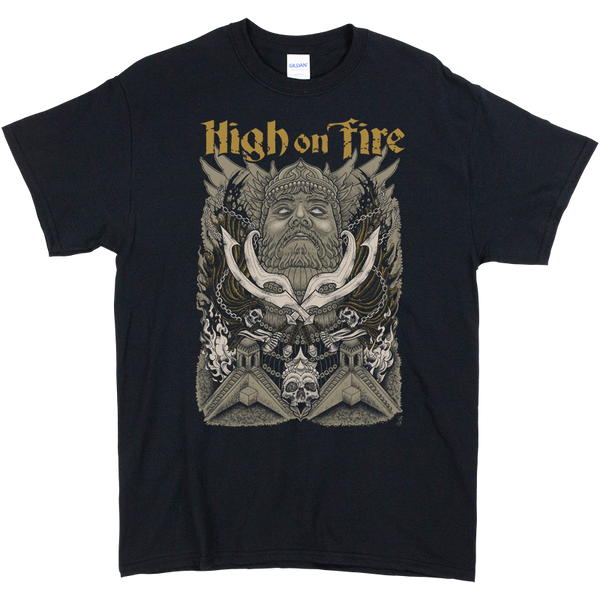High On Fire Jim Bob black tee, front print with man swords and skulls