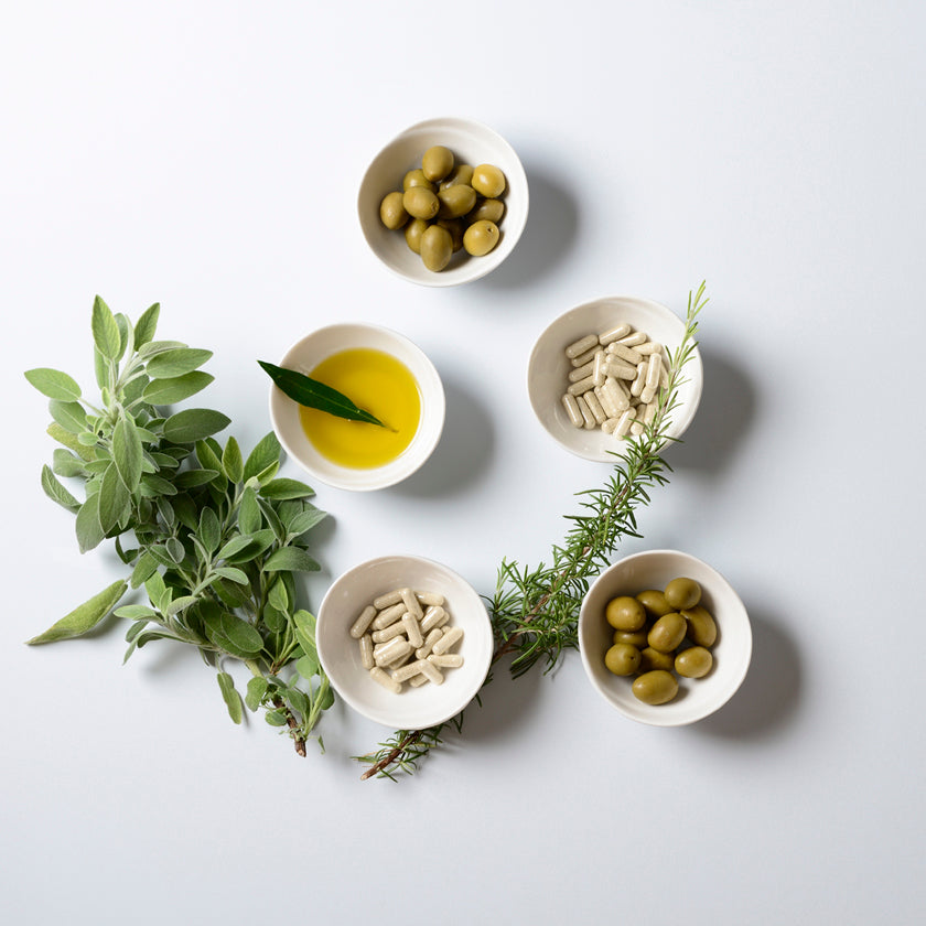 Mediterranean olives, olive oil & olive leaves used for Gourmante supplements