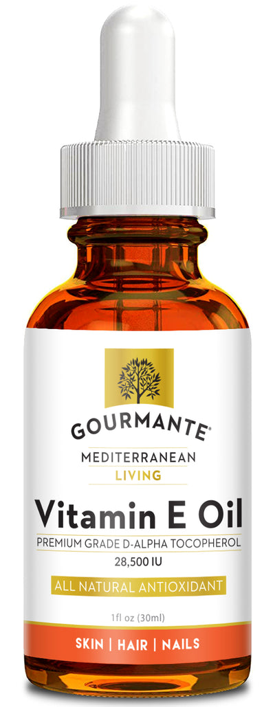 Gourmante premium grade vitamin e oil is 1 oz glass bottle