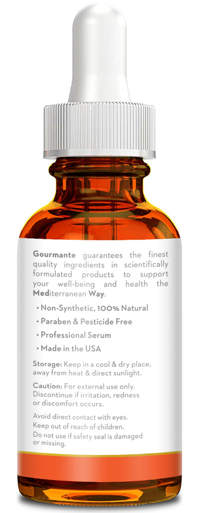 Gourmante vitamin e oil with glass dropper with ml markings for easy dosage