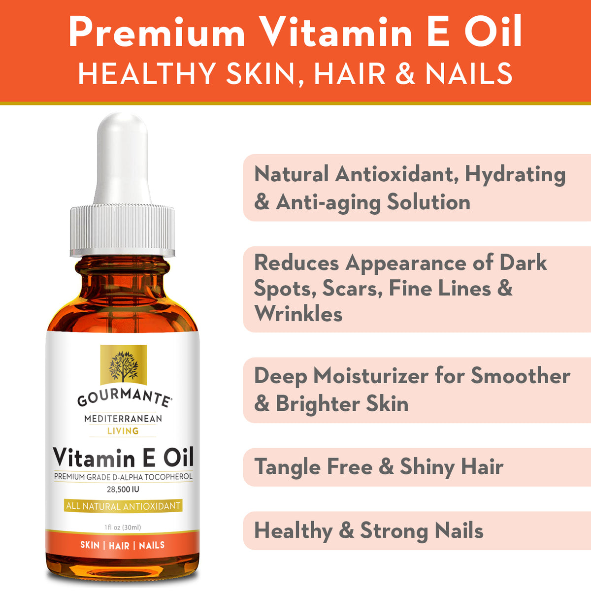 Gourmante vitamin e oil for healthy skin, hair & nails