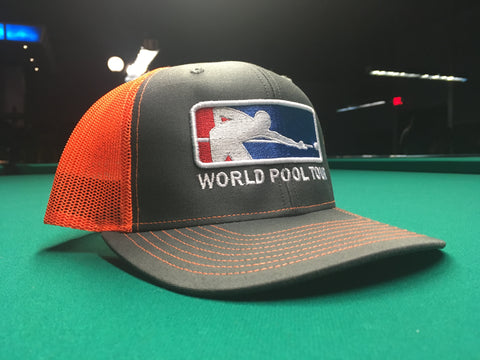 CHARCOAL/NEON ORANGE WORLD POOL TOUR SNAPBACK