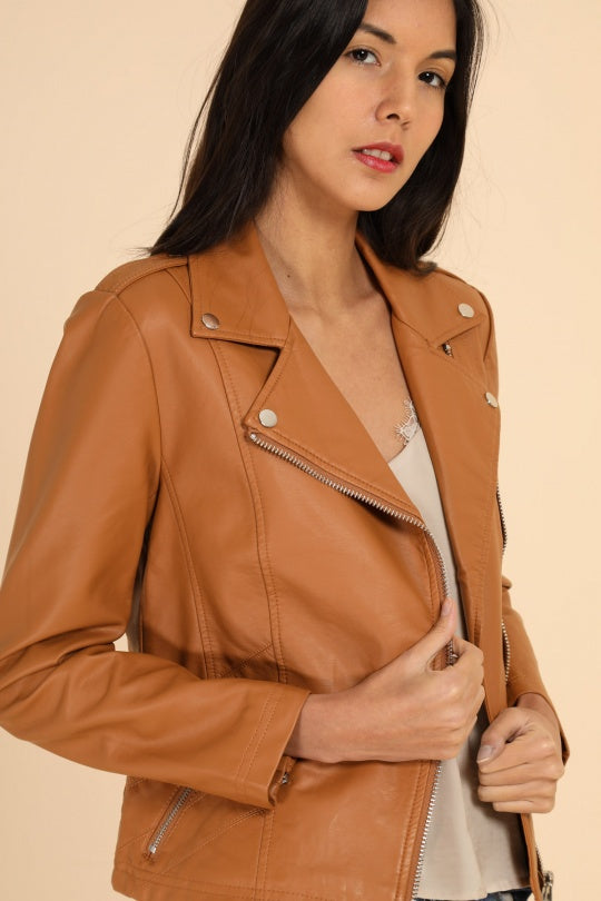 Leather look Tan Jacket