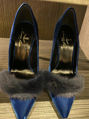 Limited Edition Blue Fur & Yellow Bottom Heels