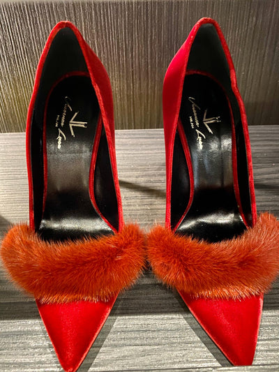Limited Edition Red Suede Fur & Yellow Bottoms