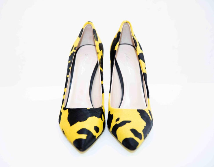 VL Pointed Toe Calfskin Leather High Heels - Black & Yellow
