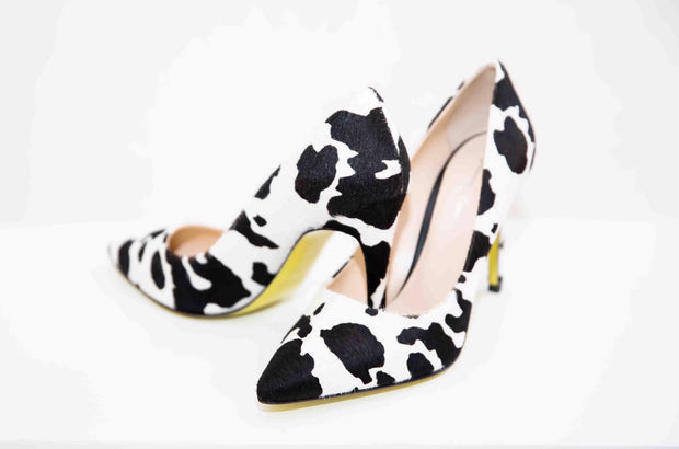 VL Pointed Toe Calfskin Leather High Heels - Black & White