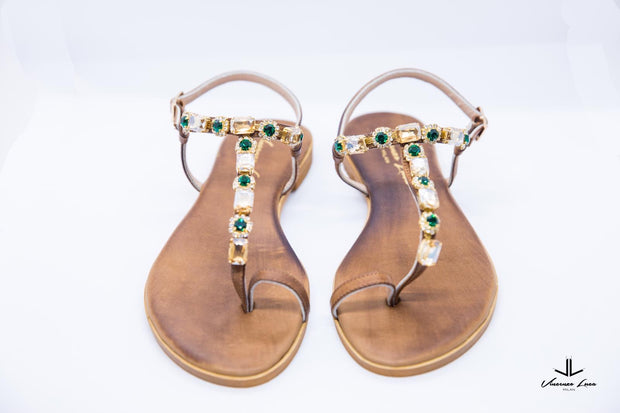 VL Brown Sandals With Stones