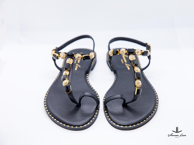 VL Mod Black Sandals with Gold Stone