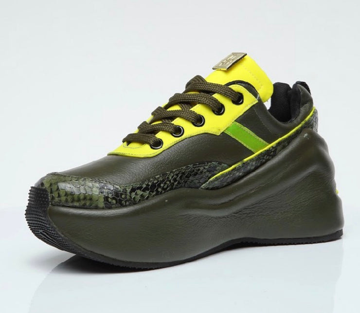 VL Olive Canvas Chunky Trainers