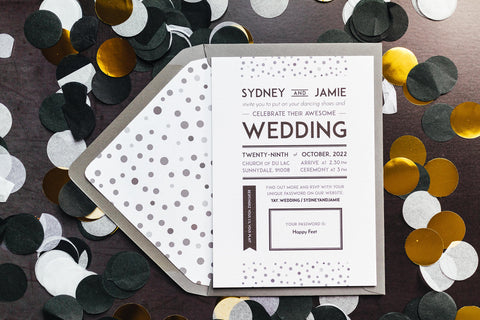 Elegant, vintage-inspired wedding invitation
