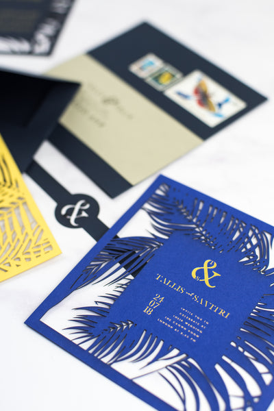 Pen & Fold: Palm Suite tropical save the date card