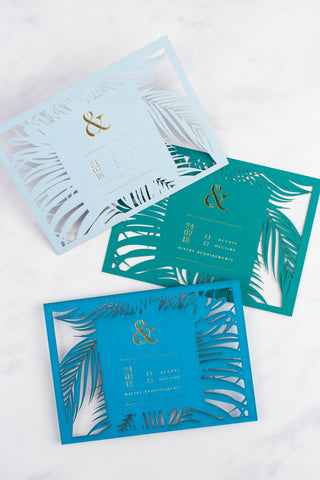 Pen & Fold: Palm Suite tropical RSVP cards