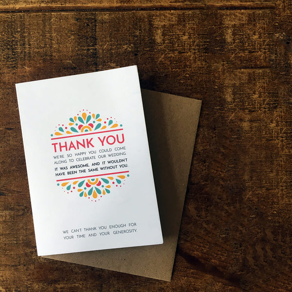 Modern, festival-feel, fold-out thank you card
