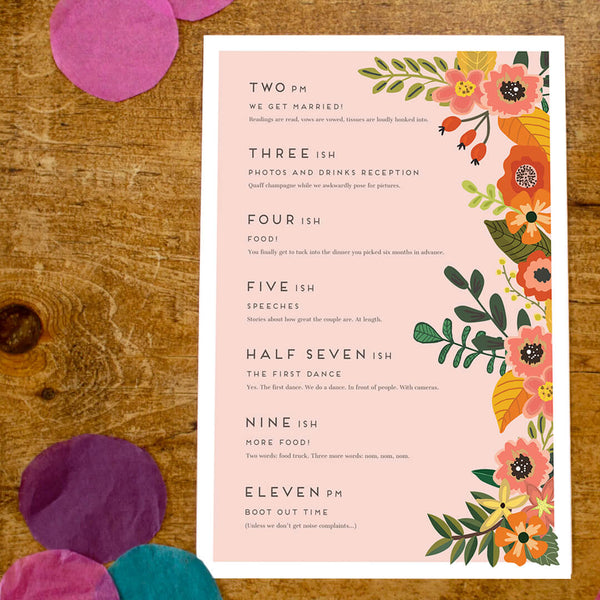 Rustic, floral order of service