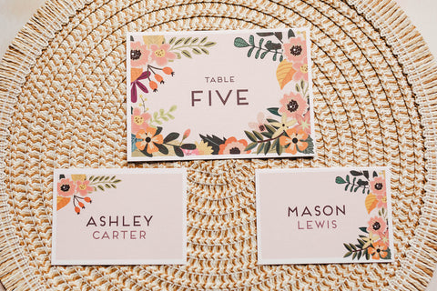 Rustic, floral table name signs