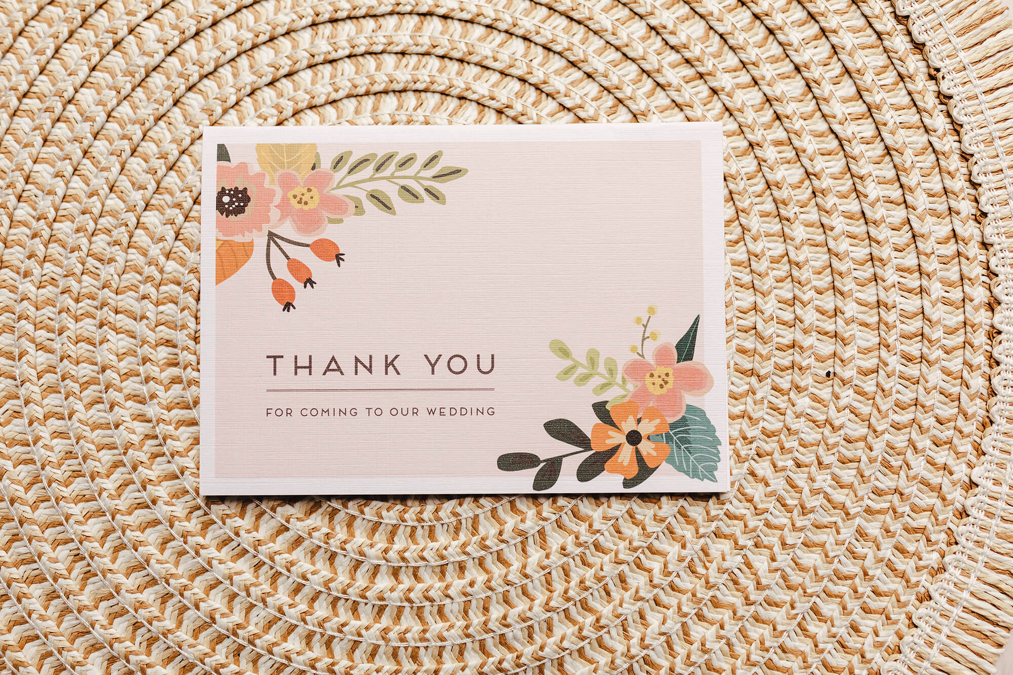 Rustic, floral, fold-out thank you card