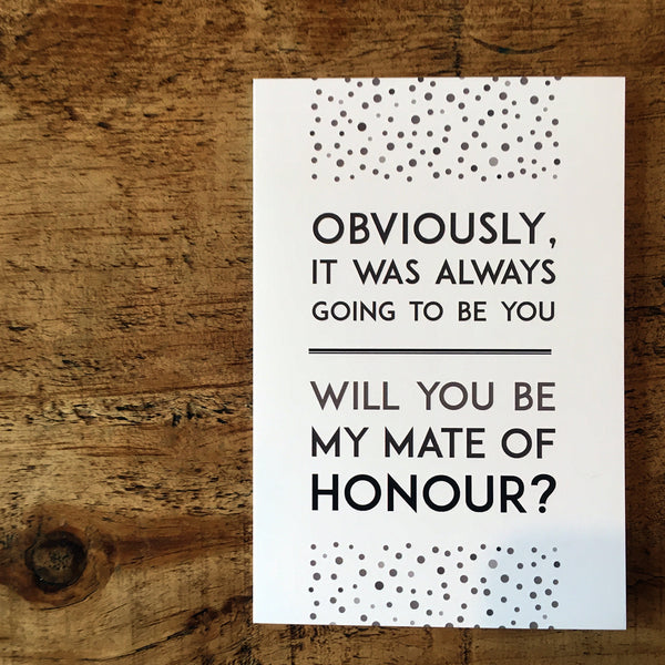 Vintage-inspired will you be my mate of honour proposal card