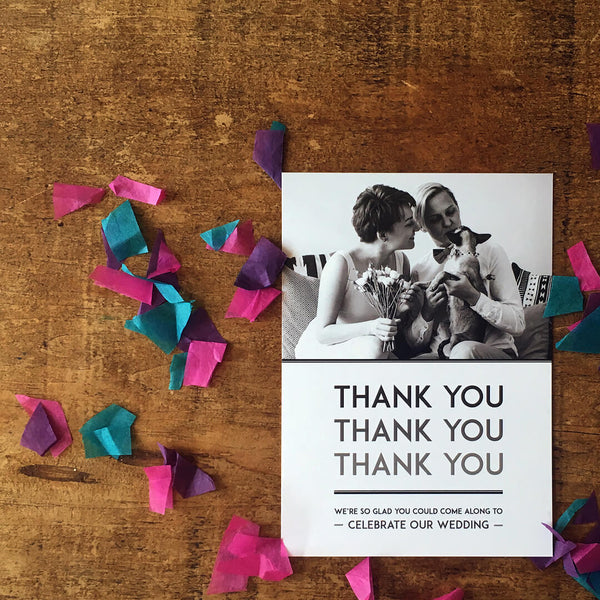 Elegant, vintage-inspired thank you postcard