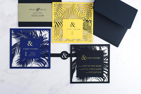 Pen & Fold: Palm Suite tropical wedding invitation