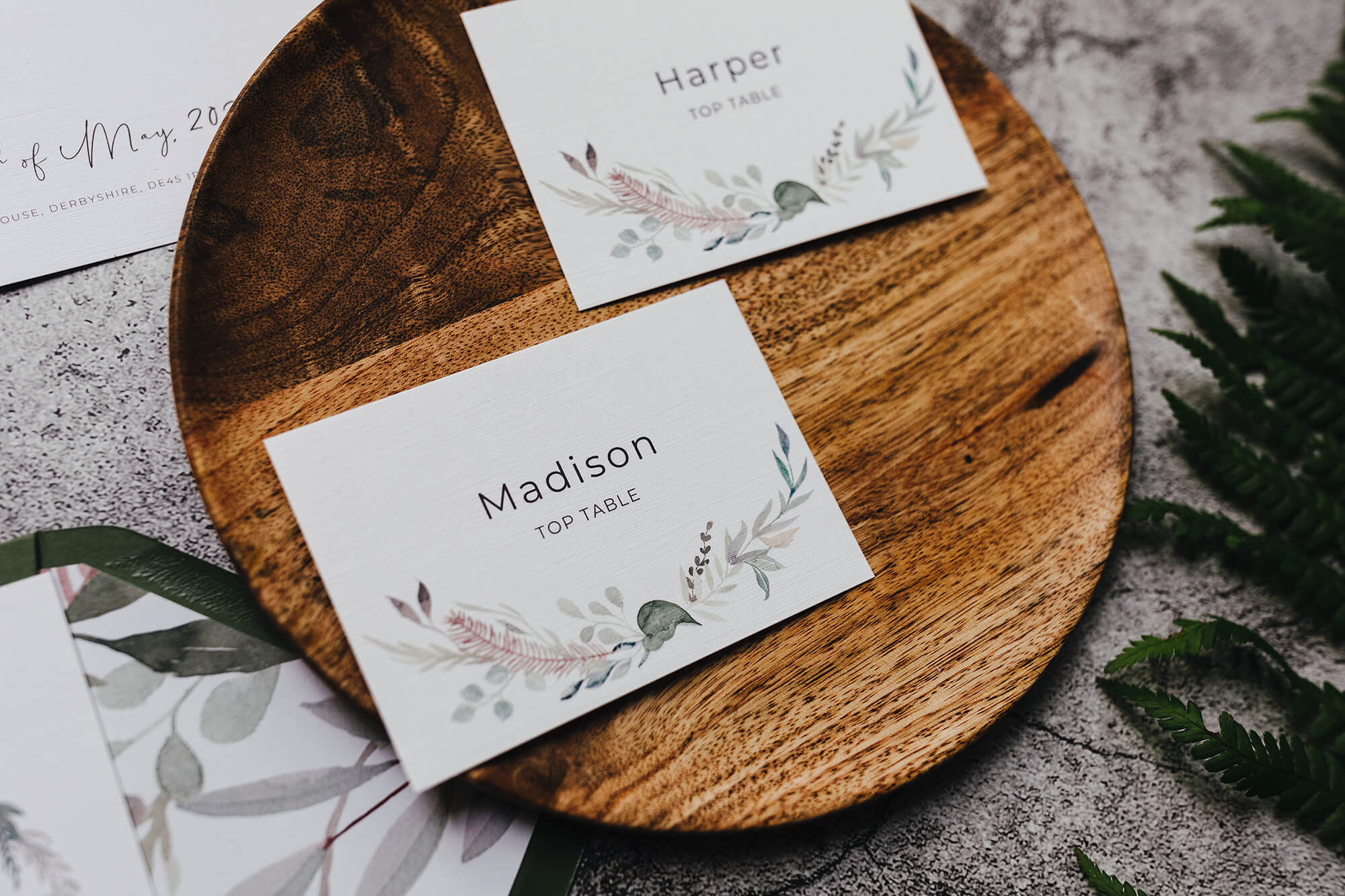 Rustic, vintage placecards
