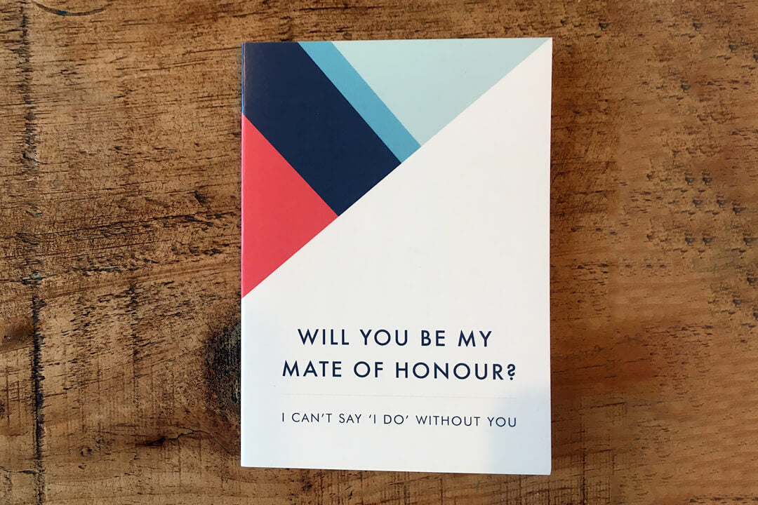 Geometric stripe will you be my mate of honour proposal card