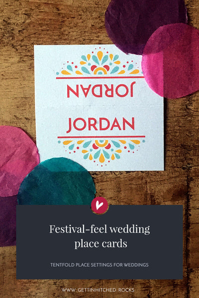 Modern, festival-feel placecards