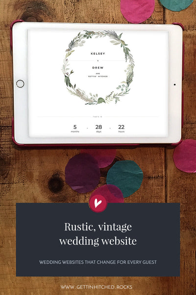 Rustic, vintage wedding website