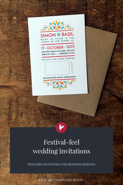 Modern, festival-feel wedding invitation