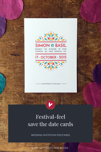 Festival-feel, modern save the date
