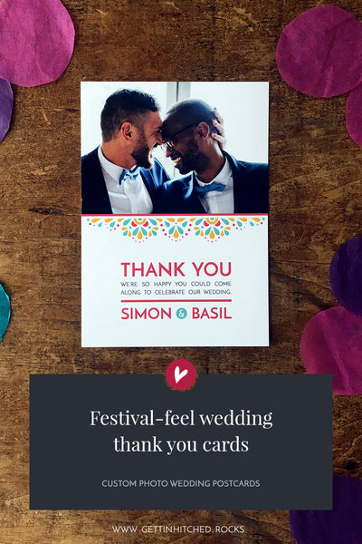 Modern, festival-feel thank you postcard