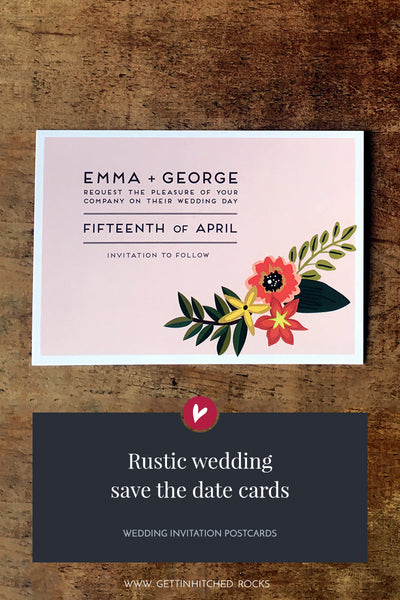 Floral, rustic save the date