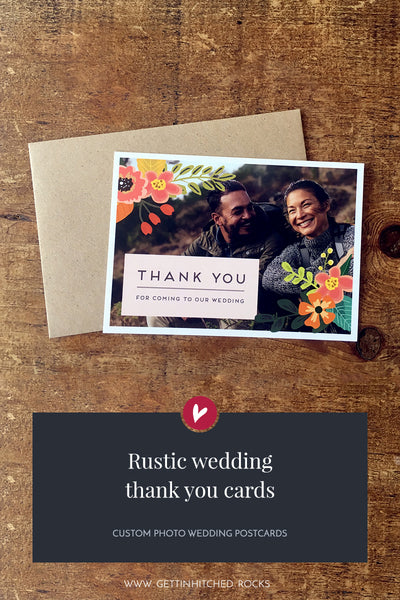 Floral, rustic thank you postcard