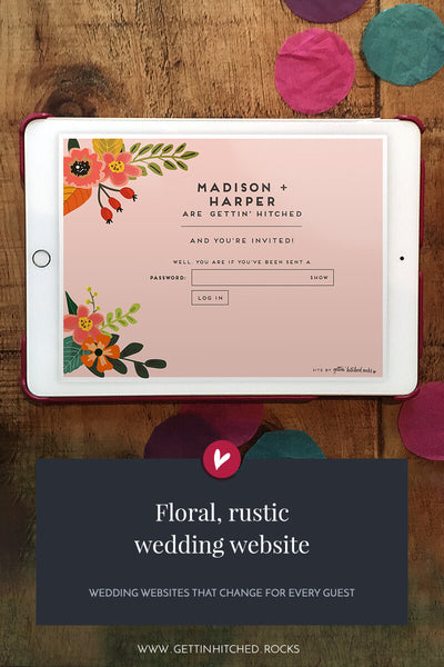 Floral, rustic wedding website