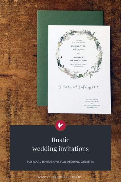 Rustic, vintage wedding invitation