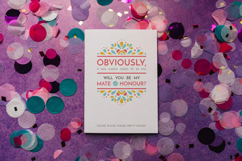 Festival-feel will you be my mate of honour proposal card