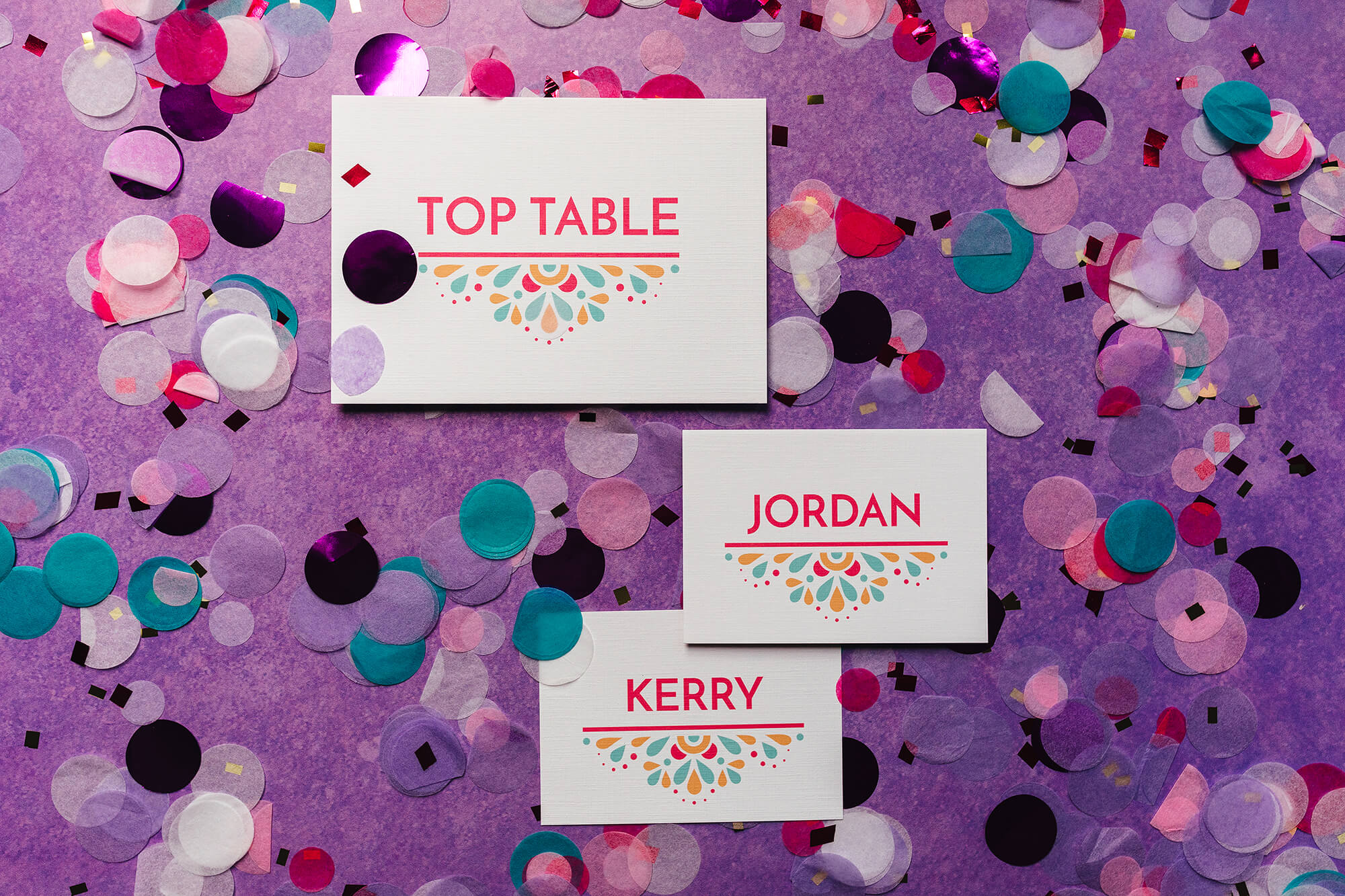 Modern, festival-feel table name signs