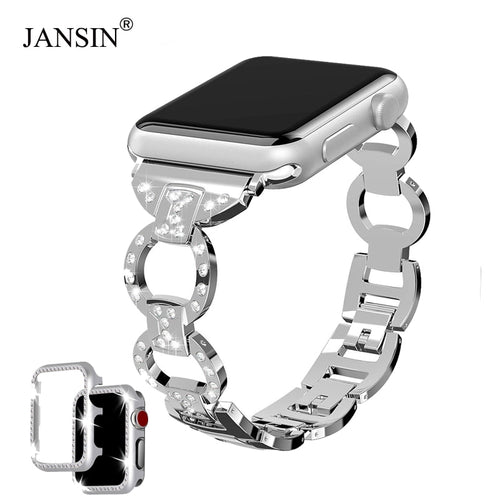 JANSIN Diamond bands for apple watch series 4/3/2 bracelet women link stainless steel strap For iwatch band 42mm 38mm 40mm 44mm