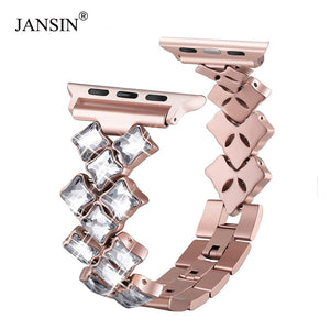 JANSIN women Jewelry Bands for Apple Watch band 38mm 42mm 40mm 44mm diamond Stainless Steel strap iWatch bracelet Series 4 3 2 1
