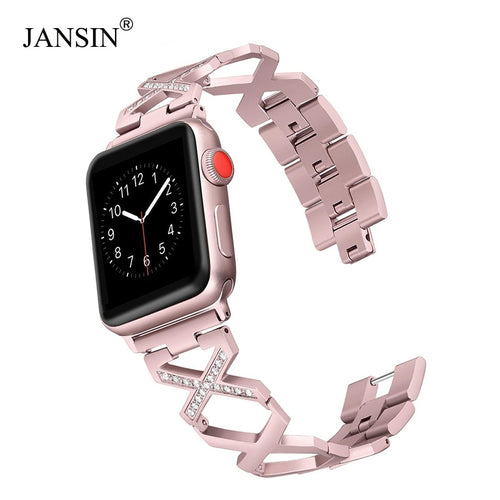 JANSIN Women Diamond Stainless Steel Strap for Apple Watch bands 38mm 42mm 40mm 44mm watchbands iWatch series 4 3 2 1 Bracelet
