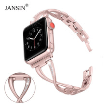 Load image into Gallery viewer, JANSIN Women Watch band for Apple Watch Bands 38mm/42mm/40mm 44mm diamond Stainless Steel Strap for iwatch series 4 3 2 Bracelet