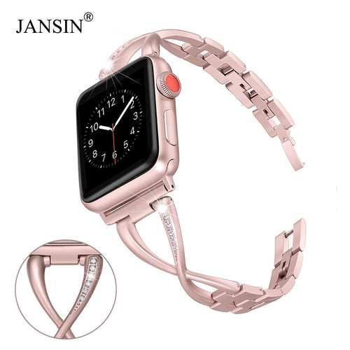 JANSIN Women Watch band for Apple Watch Bands 38mm/42mm/40mm 44mm diamond Stainless Steel Strap for iwatch series 4 3 2 Bracelet