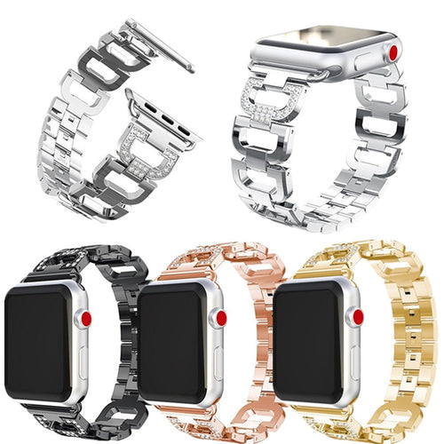 For Apple Watch Series 4 3 2 1 Band Stainless Steel Diamond Strap 42/38/44/40mm Replacement Accessory Wrist Band